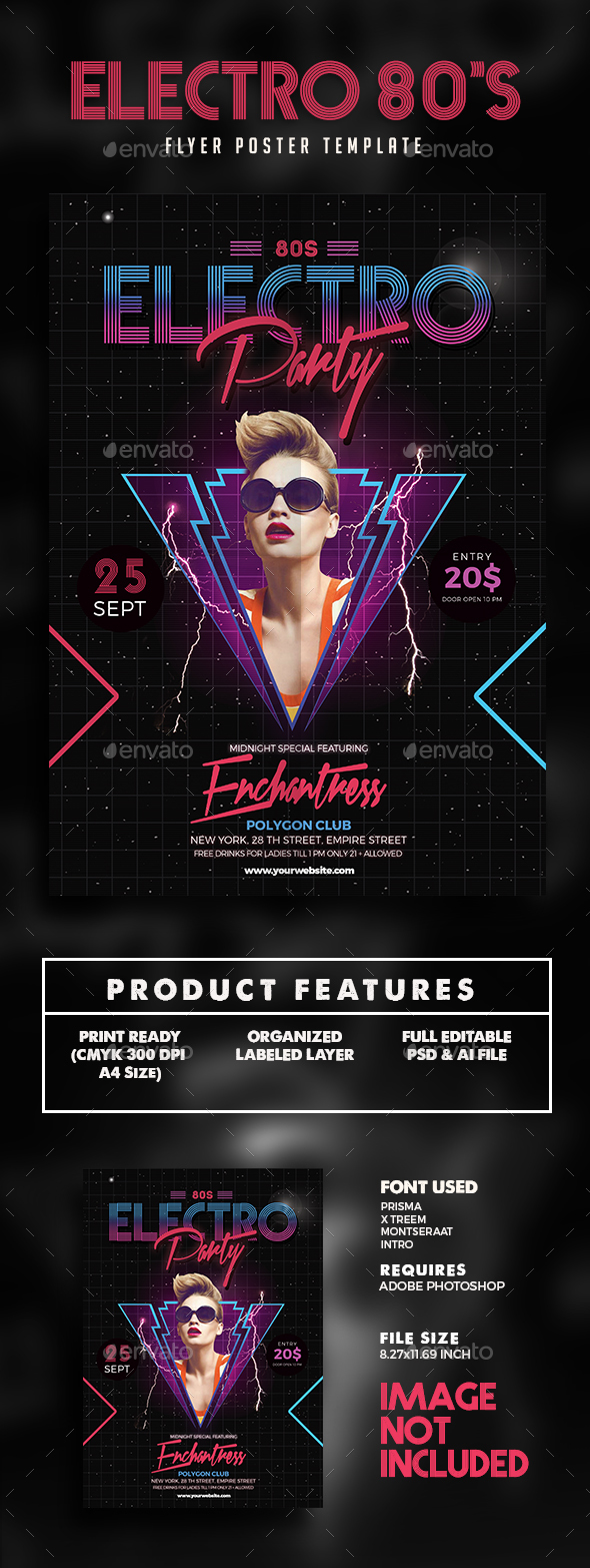 80s Electro Music party flyer - Events Flyers