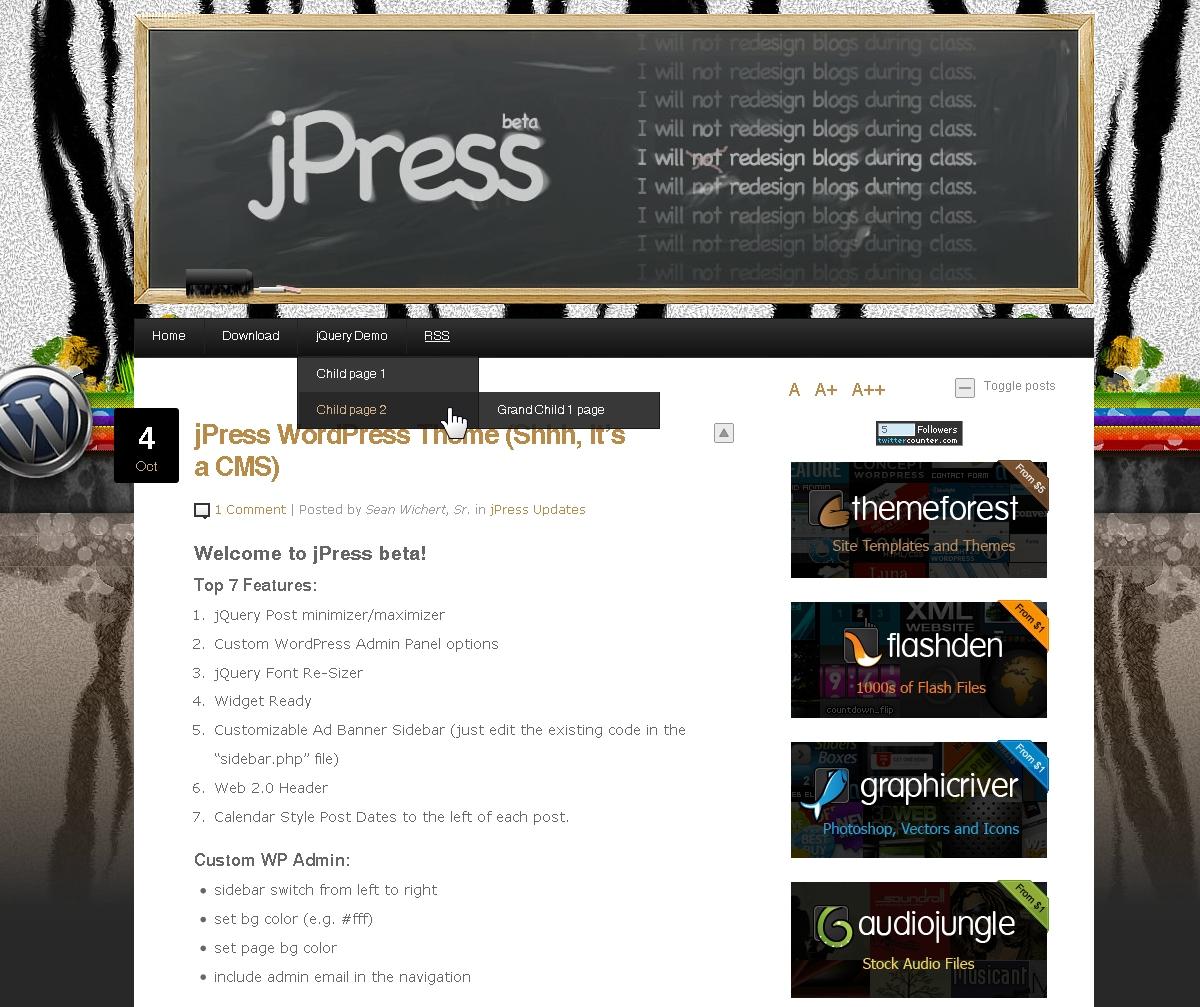 jPress - Word Press CMS