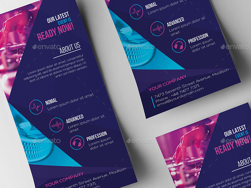 DJ / Rack Card and Business Card Template by wutip2 | GraphicRiver