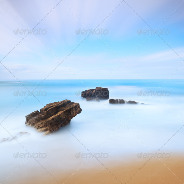 Three rocks seascape. Long exposure photography. - Stock Photo - Images