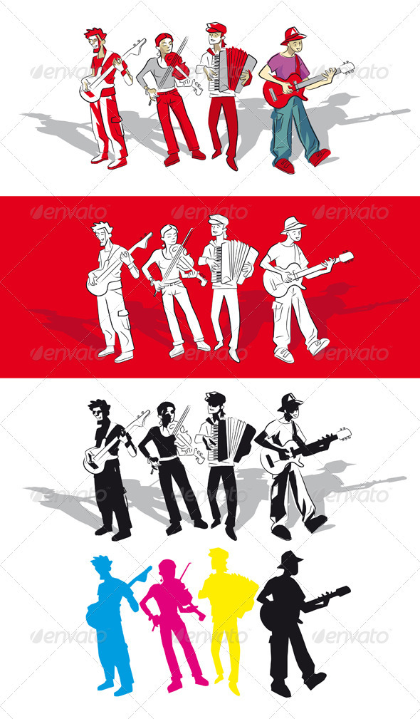 Four Musicians - People Characters