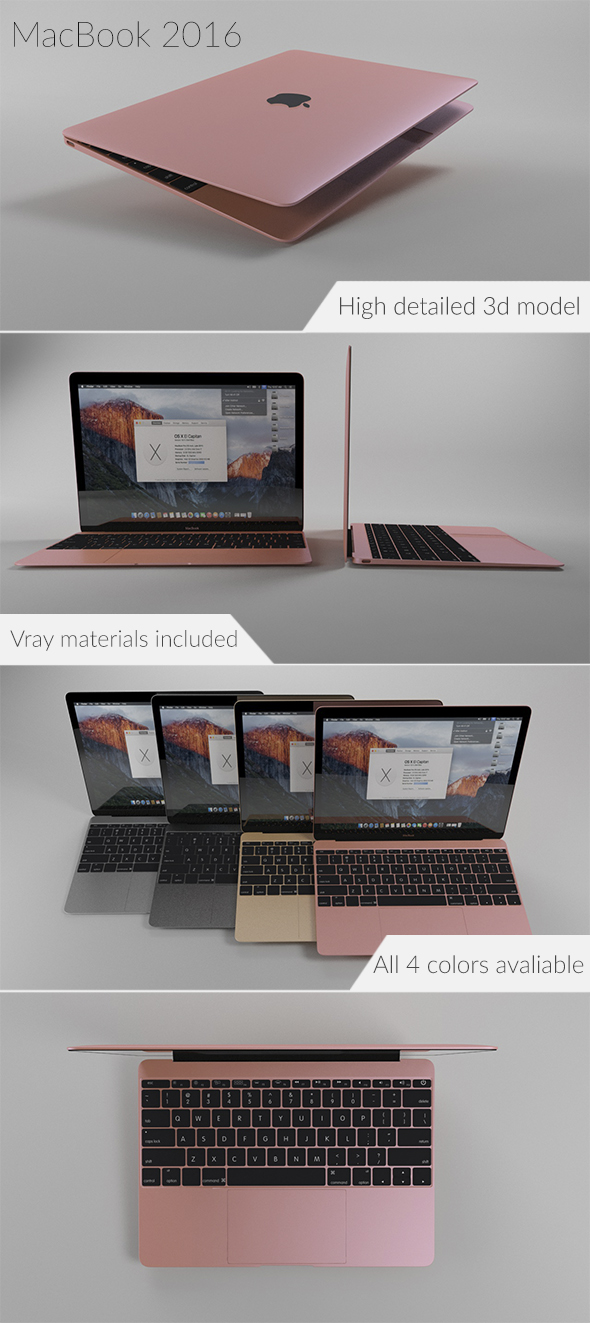 Apple MacBook 2016 - 3DOcean Item for Sale
