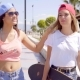 Cute Friends In Shorts With Skateboards - VideoHive Item for Sale