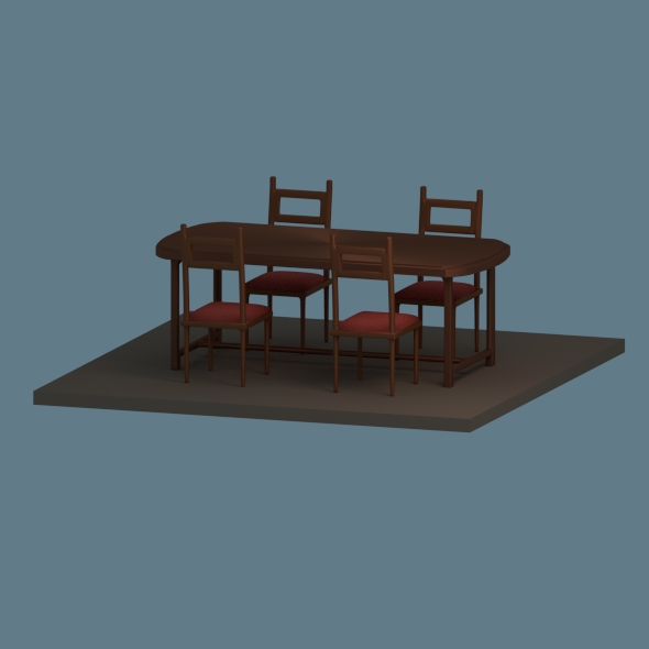 Low Poly Dining Table - 3DOcean Item for Sale