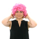 Woman with Pink Wig Waves to Camera - VideoHive Item for Sale
