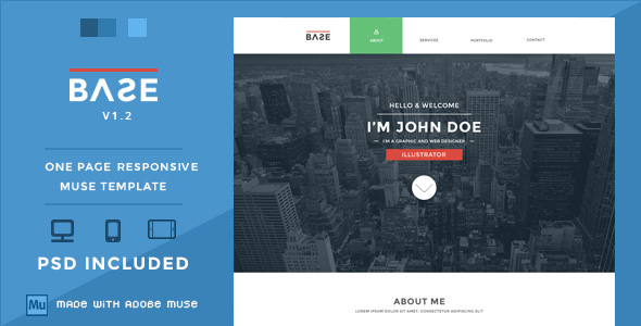 Base One Page Responsive Muse Theme By Wellmadepixel Themeforest