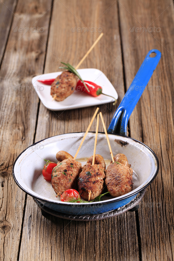 Minced meat kebabs - Stock Photo - Images