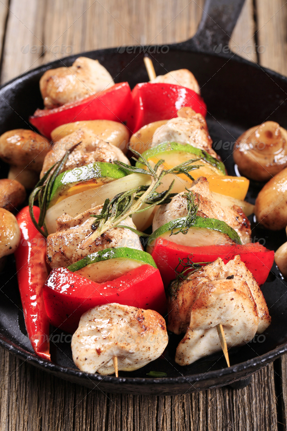 Chicken kebabs - Stock Photo - Images