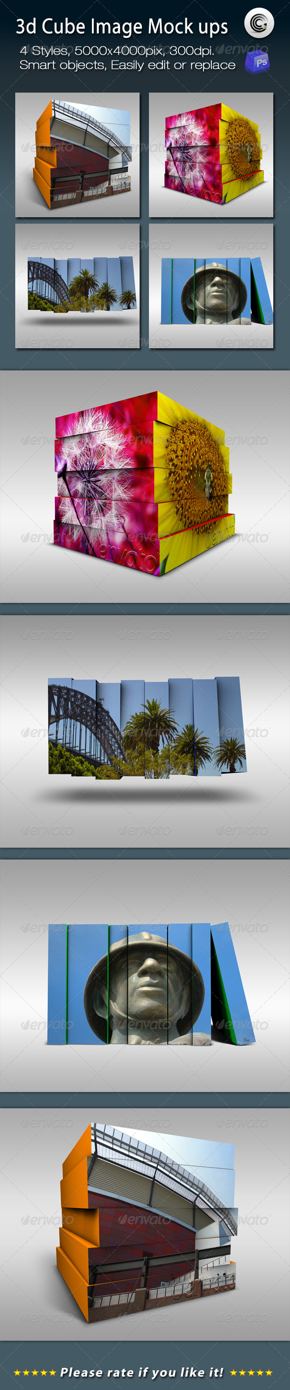 3D Cube Image Mock ups - Tech / Futuristic Photo Templates