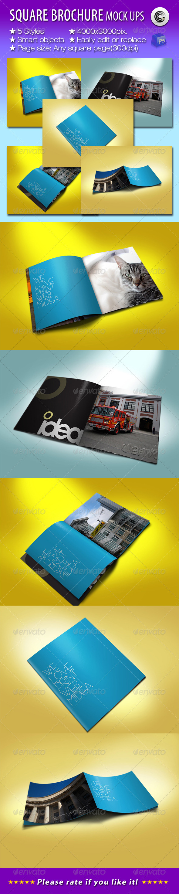 Square Brochures Preview Mock-ups - Brochures Print