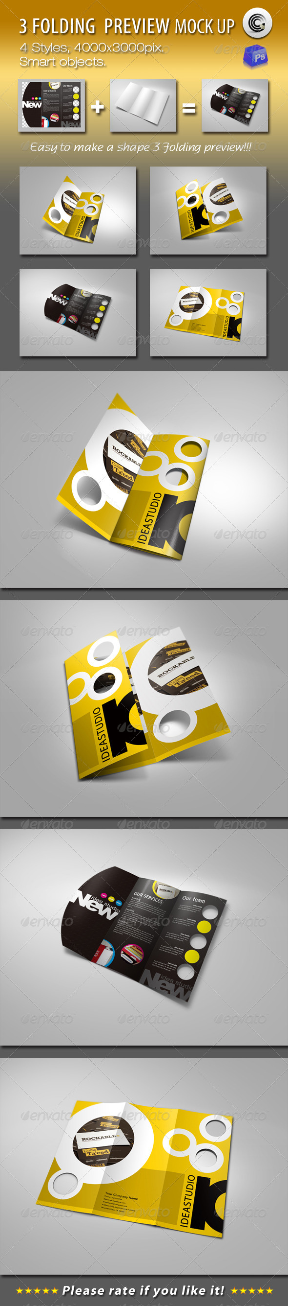 Shape 3 Folding Preview Mock-ups - Brochures Print