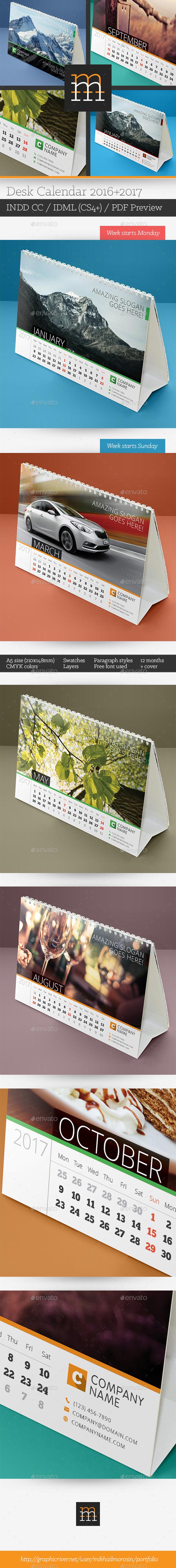 2016+2017 Desk Calendar - Calendars Stationery