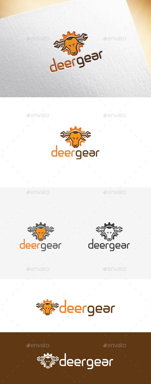 Deer Gear Logo Template - Animals Logo Templates