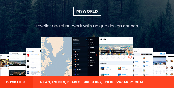 My World – Multipurpose Geolocation Directory & Events PSD Template