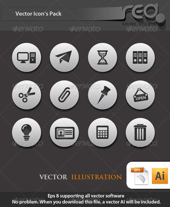 Office End Business Icons Vector Pack - Web Elements Vectors