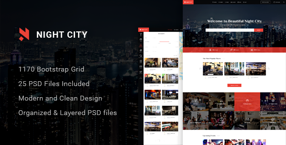 Night City – Multipurpose Geolocation Directory & Events PSD Template