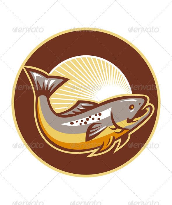 Trout Fish Jumping Sunburst Circle - Animals Characters