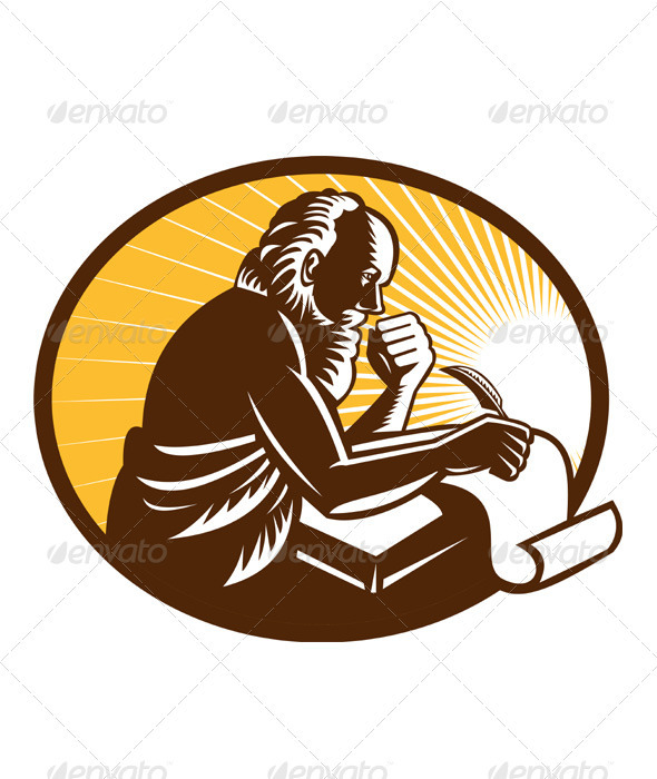 Saint Jerome Writing Scroll Retro Woodcut - People Characters