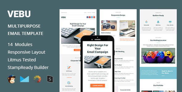 VEBU – Multipurpose Responsive Email Template + Stampready Builder