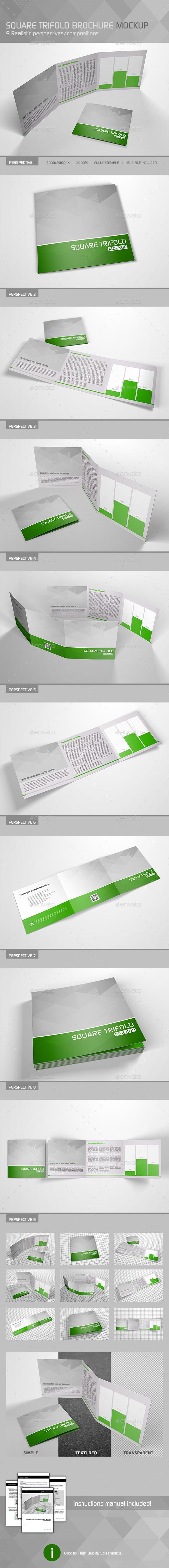 Realistic Square Trifold Brochure Mockup - Brochures Print