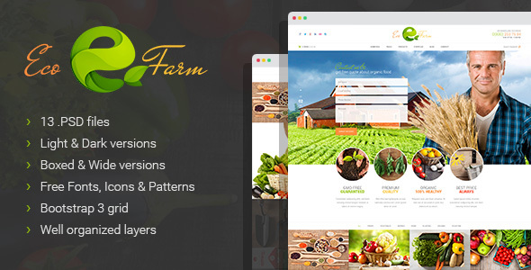 Eco Farm – Organic Food & Eco Farm PSD Template
