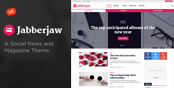 Jabberjaw - A Social News Theme - News / Editorial Blog / Magazine
