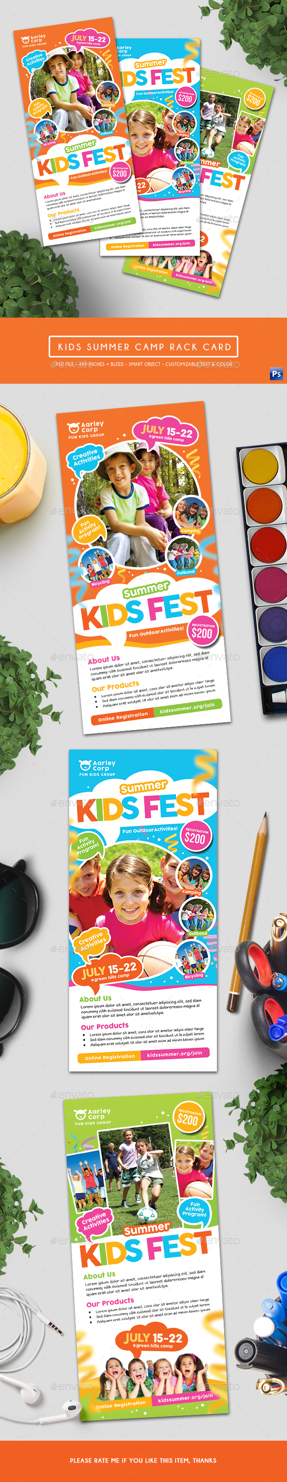 Kids Summer Camp Rack Card