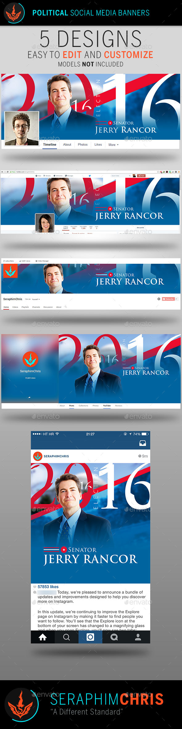 Political Election Social Media Banner Templates By Seraphimchris