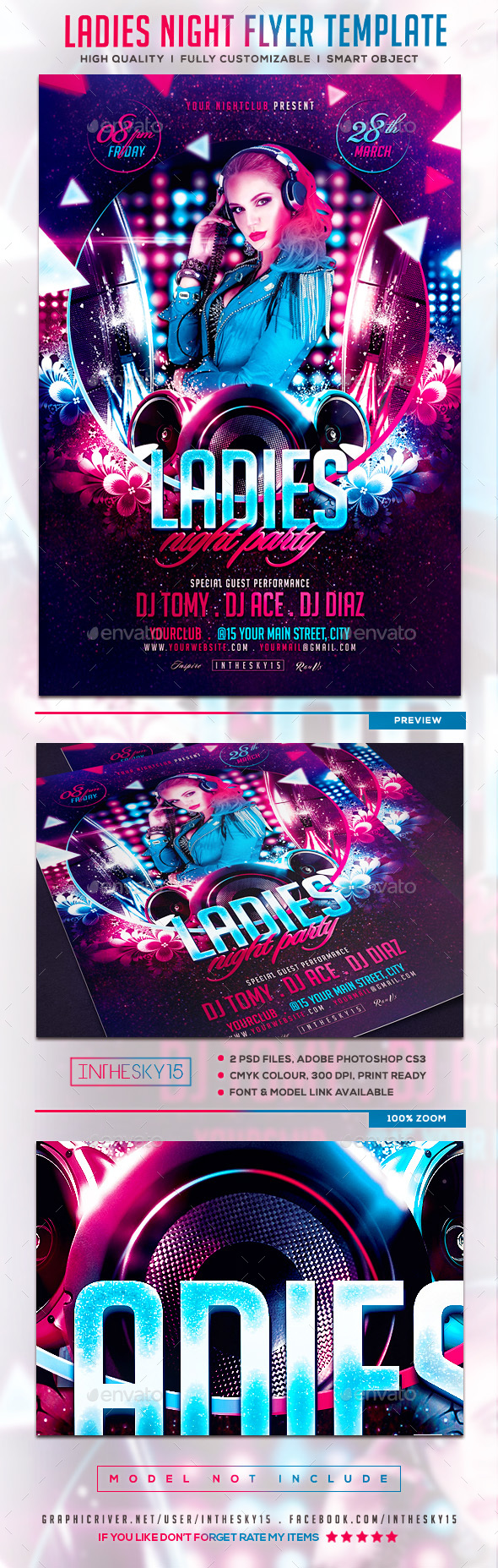 Ladies Night V2 Flyer Template - Flyers Print Templates