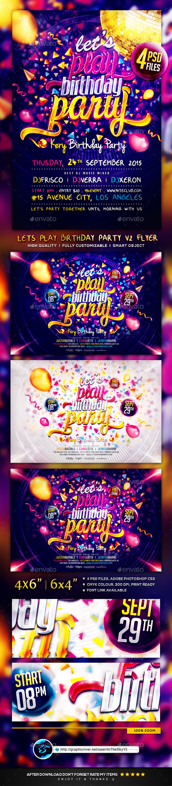 Lets Play Birthday Party V2 Flyer Template - Flyers Print Templates