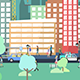 Flat City 4K - City with Buildings, Pedestrians, Cars & Planes in Flat Design - VideoHive Item for Sale