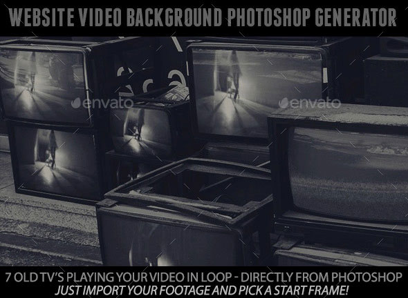 Website Video Background Generator with 7 Old TVs and Your Footage - Miscellaneous Graphics