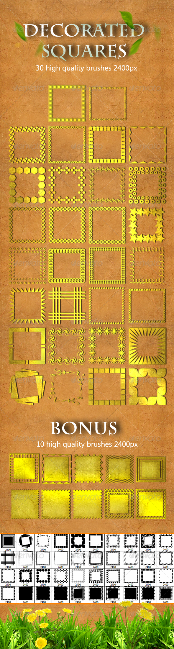 30 Decorated Squares - Artistic Brushes