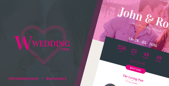 W-Wedding – Responsive Bootstrap Wedding Template