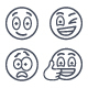 Thin Line Emoji Emoticons Smiley Face Emotions Icons Set - GraphicRiver Item for Sale