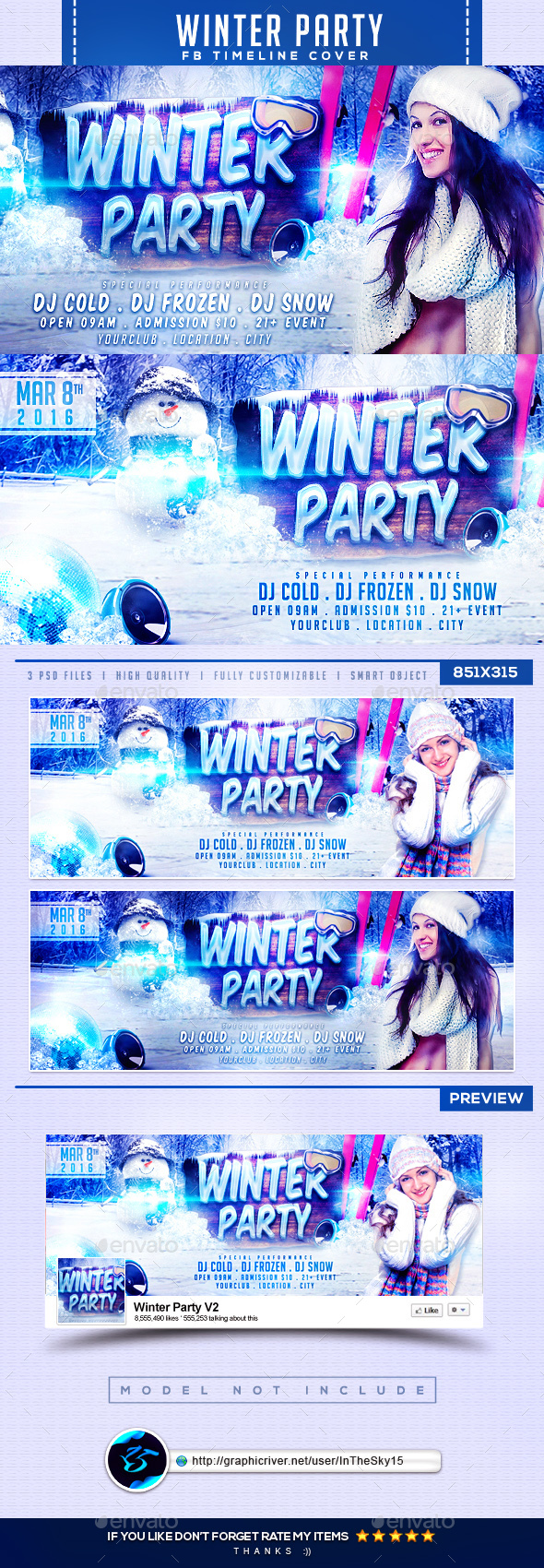 Winter Party V2 FB Timeline Cover - Facebook Timeline Covers Social Media