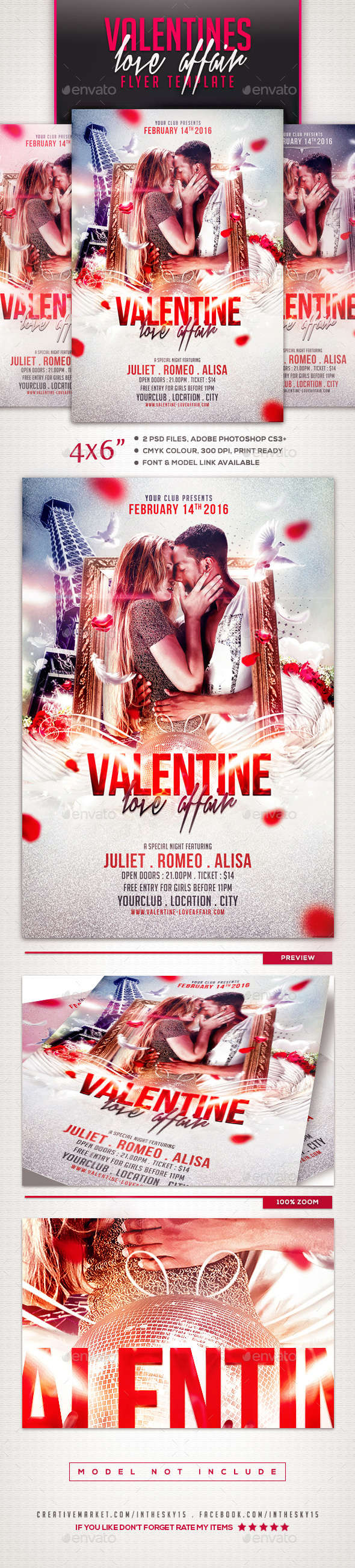 Valentine Love Affair Flyer Template - Events Flyers