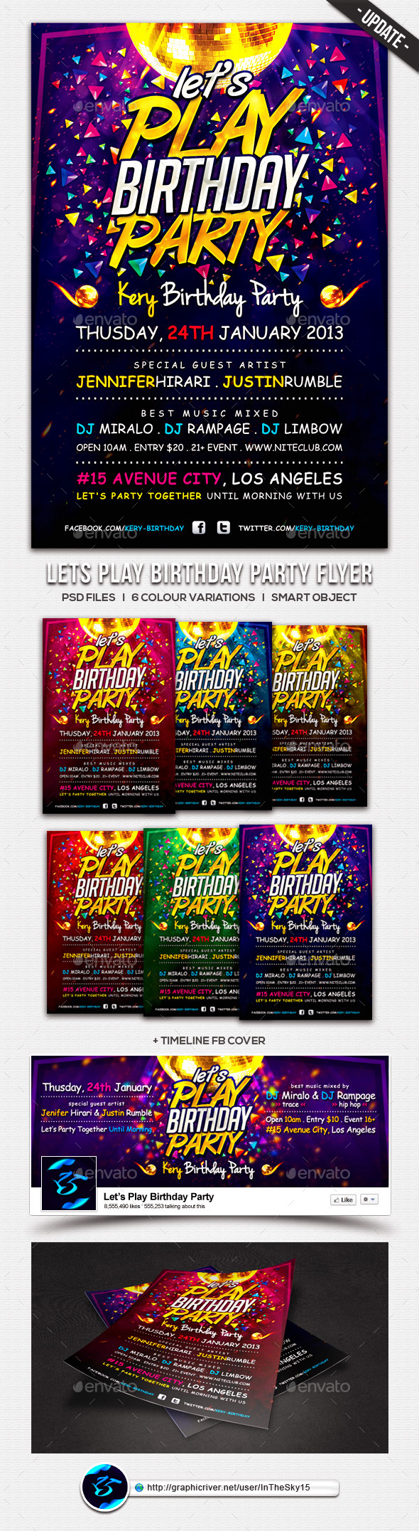 Lets Play Birthday Party Flyer Template - Clubs & Parties Events