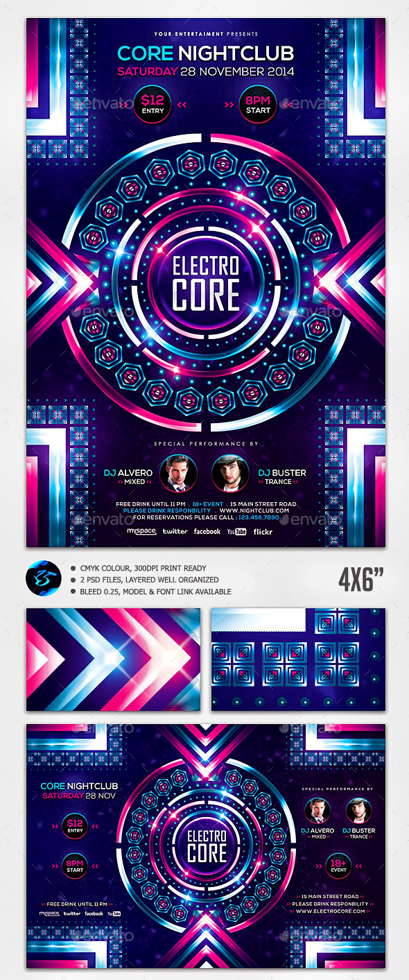Electro Core Flyer Template - Concerts Events