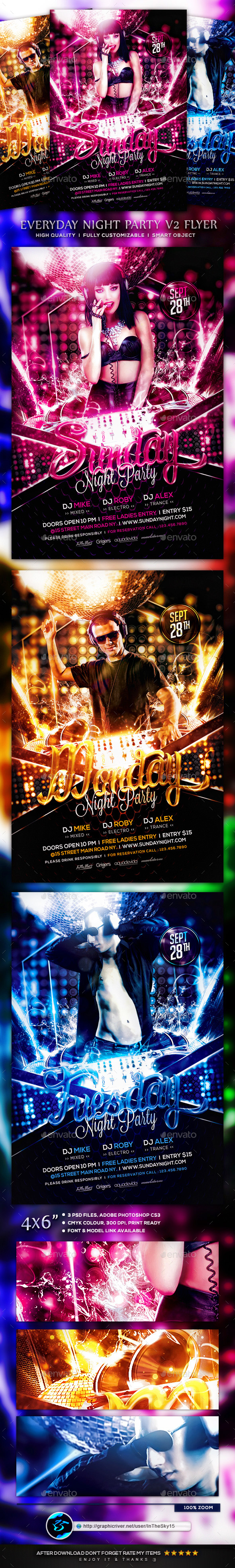 Everyday Night Party V2 Flyer Template - Clubs & Parties Events