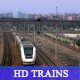 HD Train races away from camera w/city view - VideoHive Item for Sale