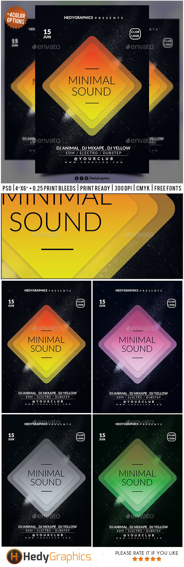 Minimal Sound - Flyer Template - Events Flyers