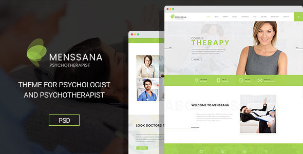 Menssana - Psychologist and Psychotherapist PSD Template - Business Corporate