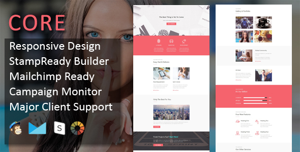 CORE - Multipurpose Responsive Email Template + Stampready Builder - Email Templates Marketing