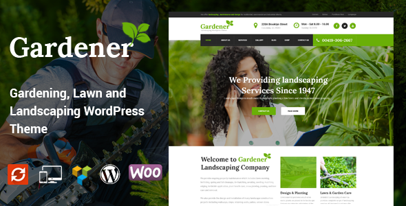 Gardener – Gardening, Lawn and Landscaping WordPress Theme