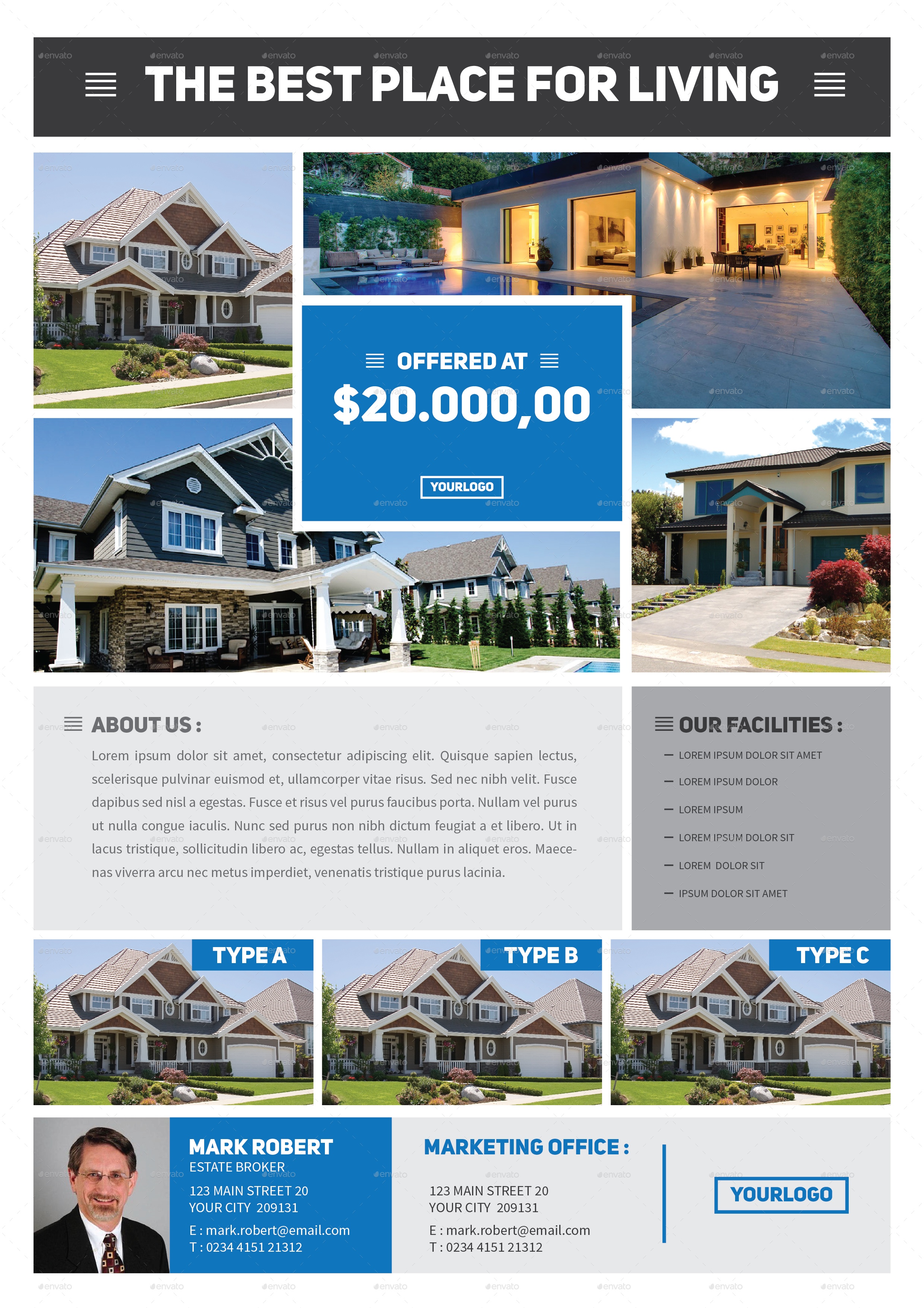 Modern real estate flyer by tokosatsu graphicriver for Modern realtors real estate