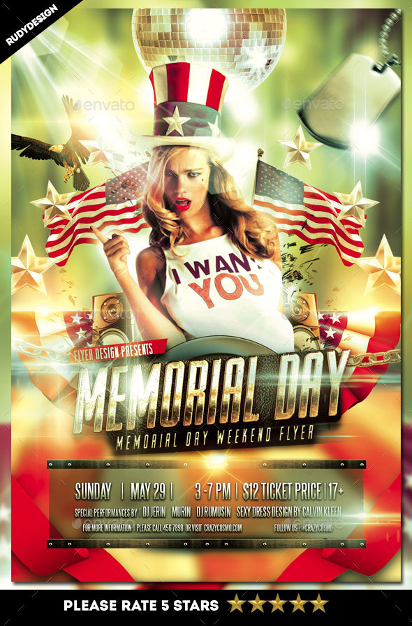 Memorial Day Weekend Flyer Invitation By Rudydesign  Graphicriver