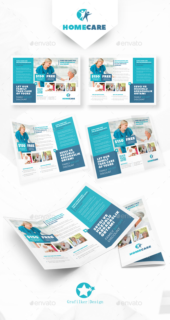 health care brochure template - home health care tri fold templates by grafilker
