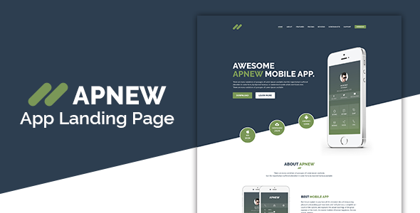 ApNew – App Landing PSD Template