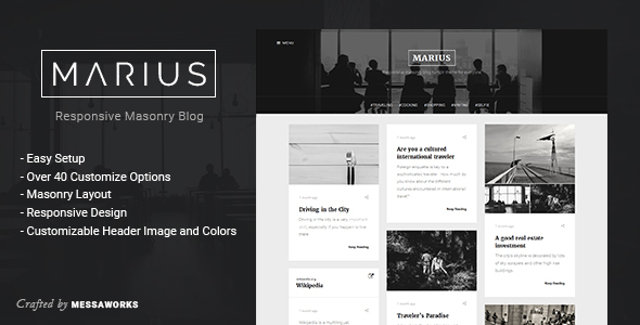 Marius - Responsive Masonry Blog Tumblr Theme - Blog Tumblr